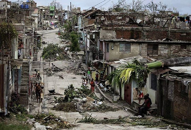 destroyed street in Haiti