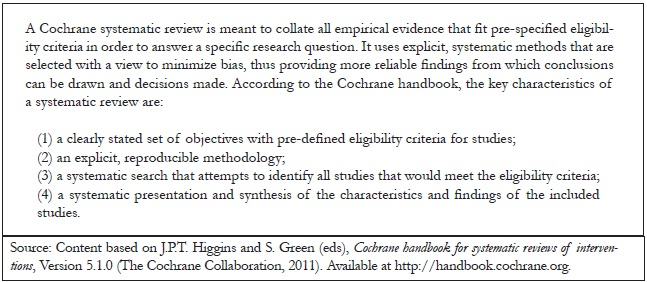 Table 1. The Cochrane method