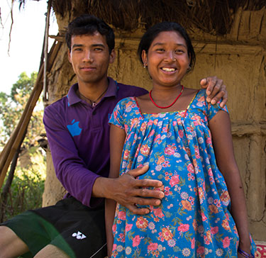 Expectant mother Kamala and her husband Binod, Nepal