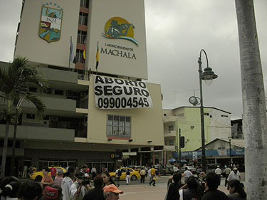 Abortion rights protest in Machala, Ecuador