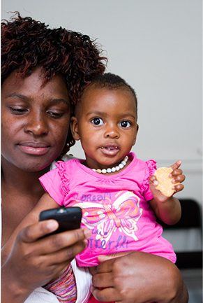 mom black south african baby cell phone mhealth mobile accountability