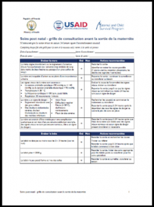 Maternal and Child Survival Program's postnatal care pre-discharge checklist and poster