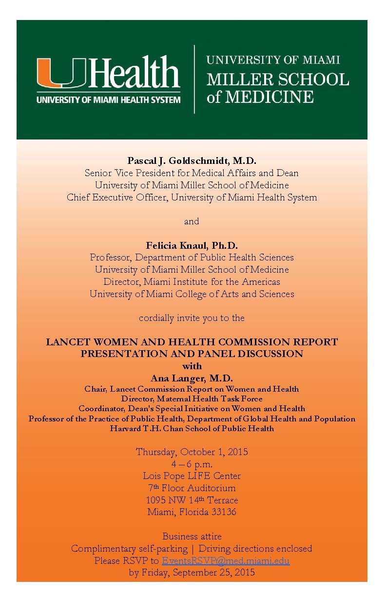 events lancet commission on women and health a second event took place at the university of miami