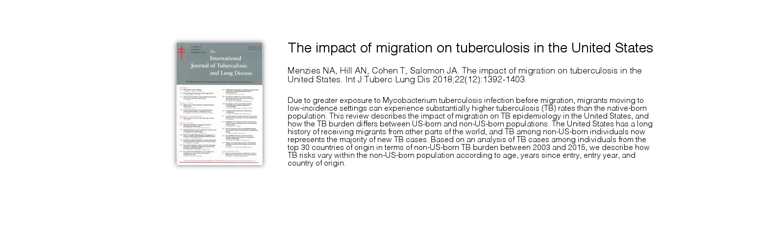 See our publication in The International Journal of Tuberculosis and Lung Disease