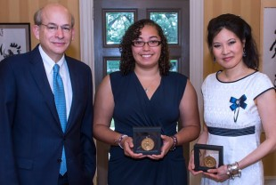Pictured from left are Rice University President David Leebron, Anne Wells and Sheryl WuDunn. (Photo by Tommy LaVergne)