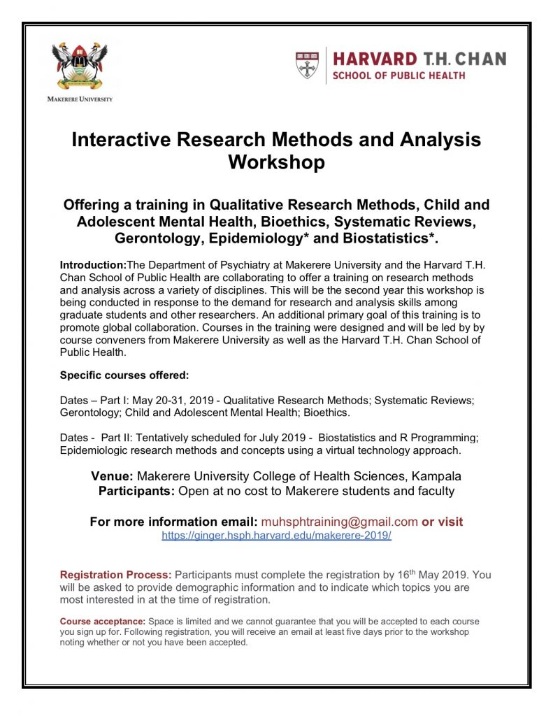 Makerere University 2019 Interactive Research Methods and Analysis